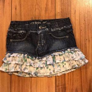Guess ruffled jean skirt